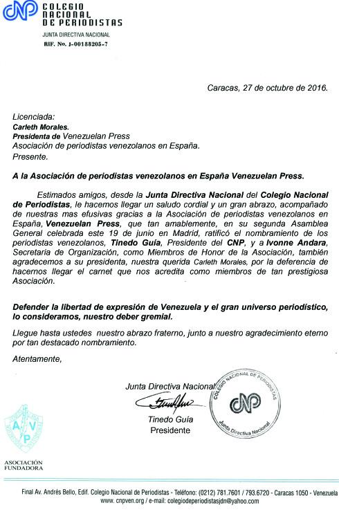 CARTA de agradecimiento a Venezuelan Press