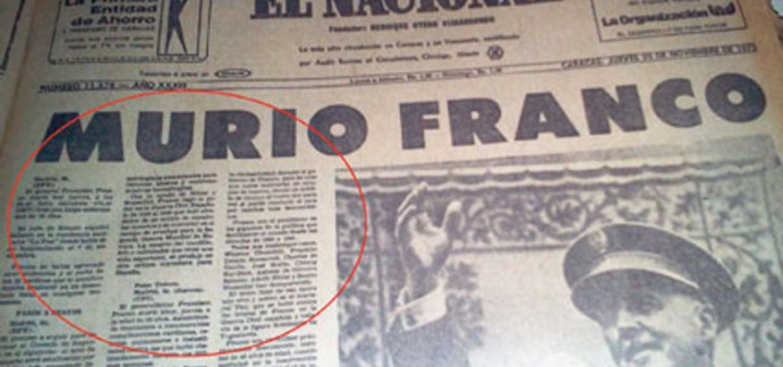 Portada de primera edición del diario El Nacional de Caracas, el 20 de noviembre de 1975