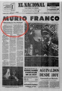 Portada 2º edición El Nacional. Caracas 20/11/75