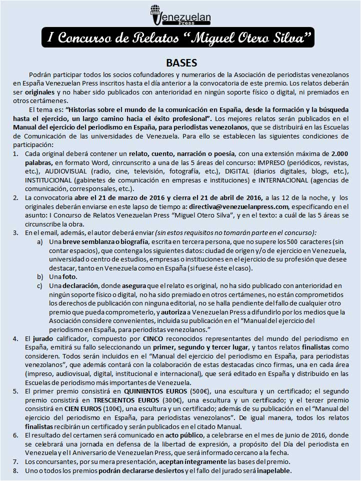 Bases I Concurso relatos Miguel Otero SIlva