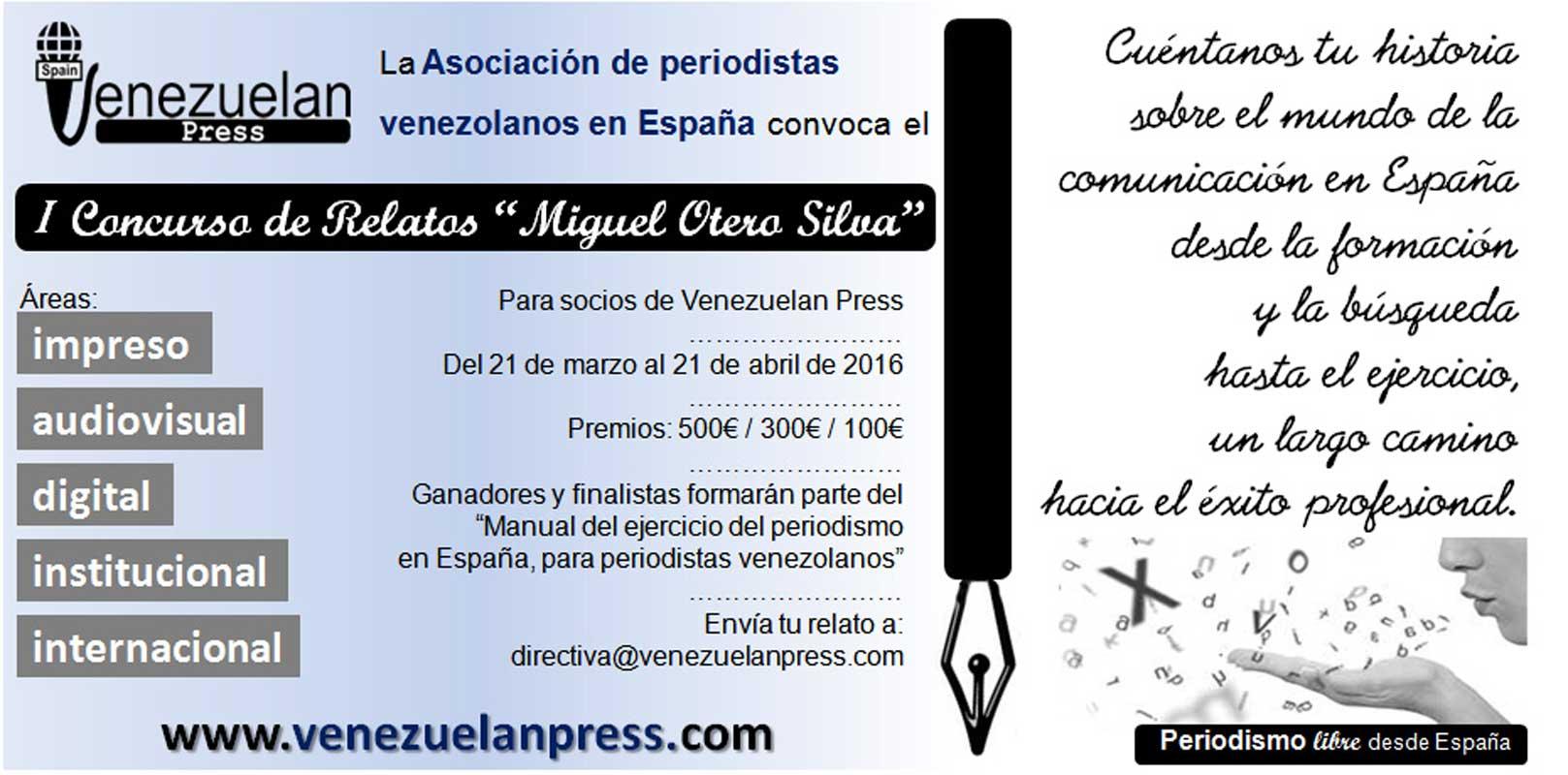 Convocatoria I Concurso relatos Venezuelan Press Miguel Otero Silva