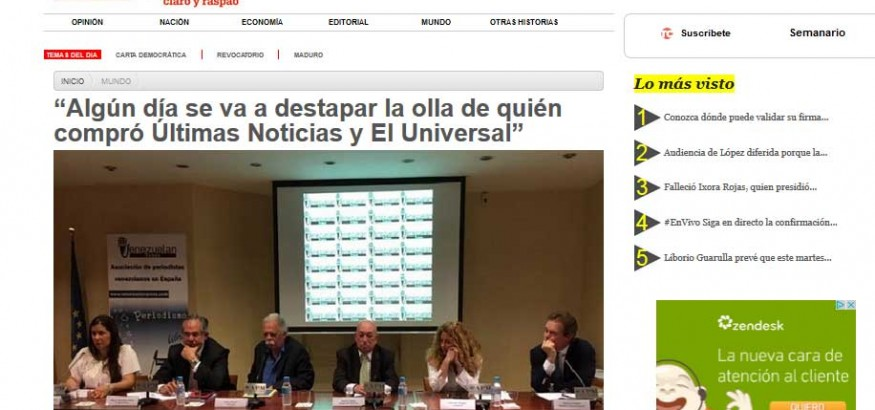 Portada Tal Cual Digital con Venezuelan Press