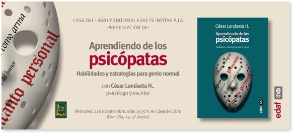 Invitación presentación Aprendiendo de los psicópatas