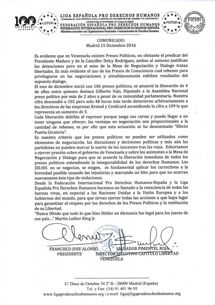 Comunicado Liga Española Pro Derechos Humanos