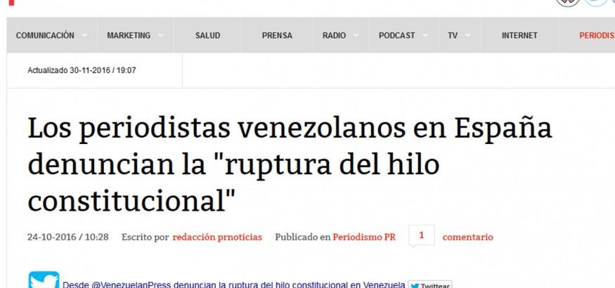 Publicación Venezuelan Press en PR Noticias