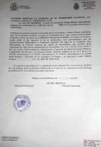 Resolución denegatoria venezolanos deportados de España