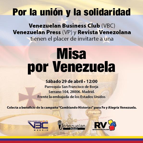 Invitaciónn a la Misa por Venezuela en Madrid