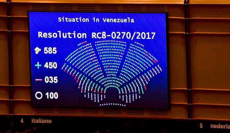 El Parlamento europeo también habla: 450 votos a favor contra 35 para pedir elecciones en Venezuela