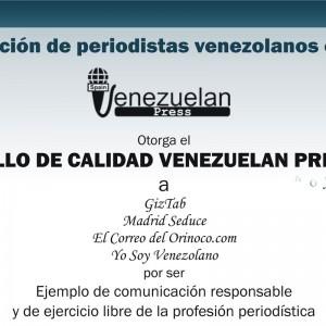 Cuatro medios de periodistas venezolanos en España reciben el Sello de Calidad Venezuelan Press