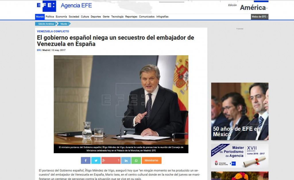 España desmiente a Mario Isea