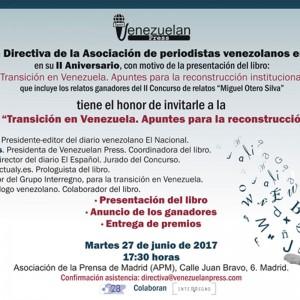 """Venezuelan Press presenta su libro """"Transición en Venezuela"""" en el II Aniversario de la Asociación"""