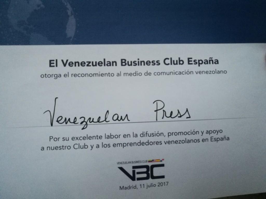 VBC reconoce la labor de Venezuelan Press