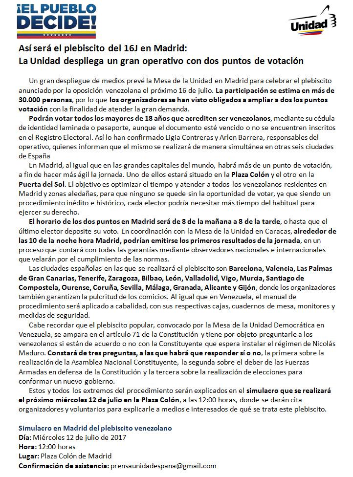 Así sera el plebiscito en Madrid