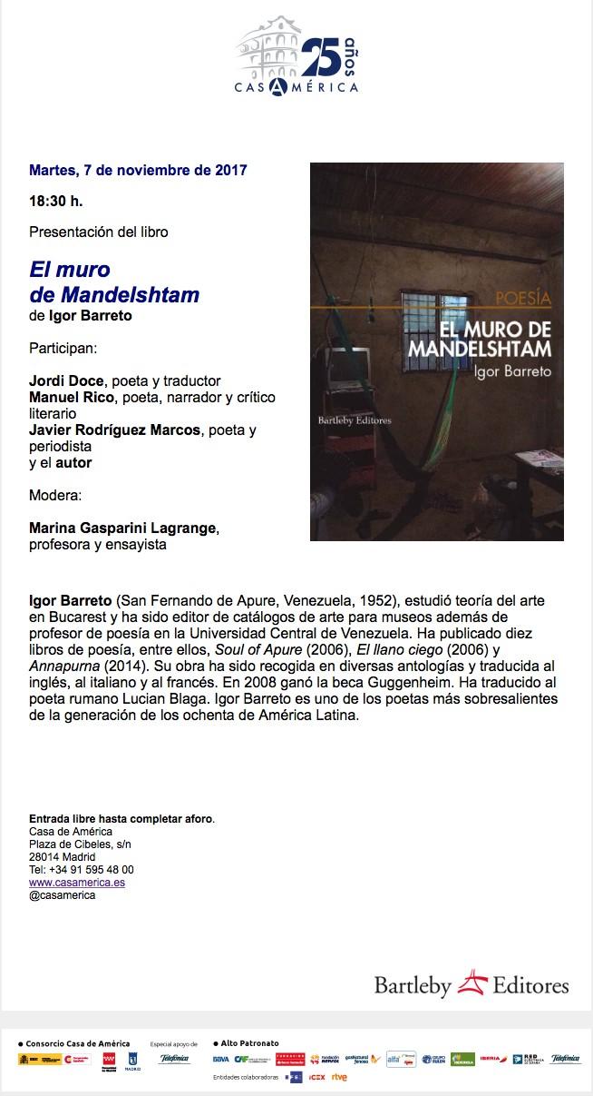 Invitación a la presentación del libro de Igor Barreto, Casa de las Américas, 7 de noviembre 2017