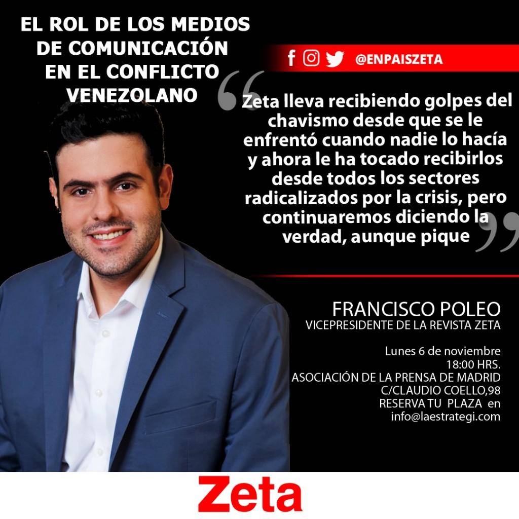 """Francisco Poleo en el I Foro Zeta-España: """"El rol de los Medios de Comunicación en el conflicto venezolano"""""""