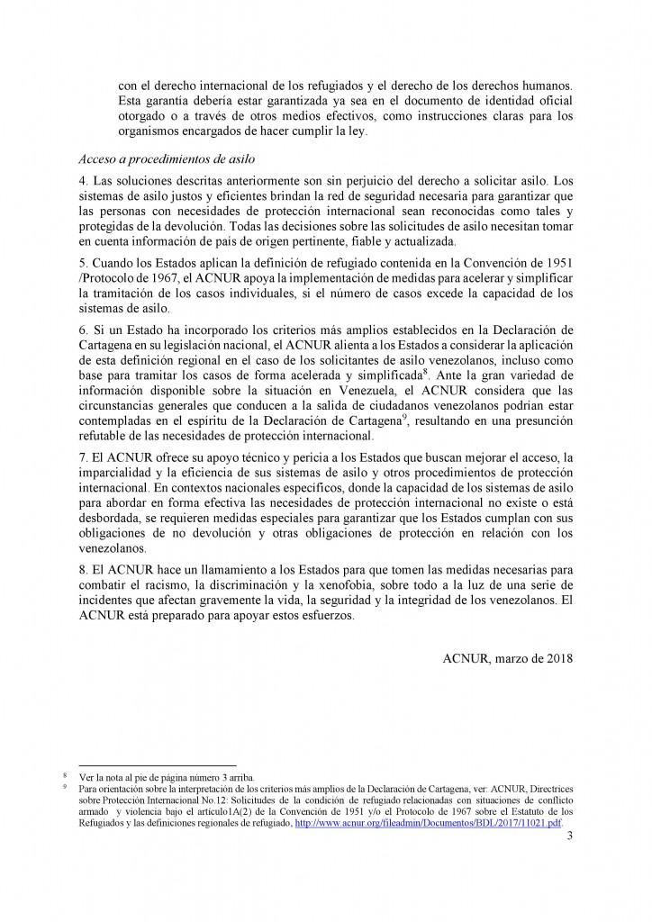 Comunicado ACNUR venezolanos