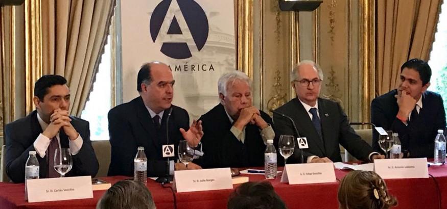 Felipe González, Antonio Ledezma, Julio Borges, Lester Toledo y Carlos Vecchio