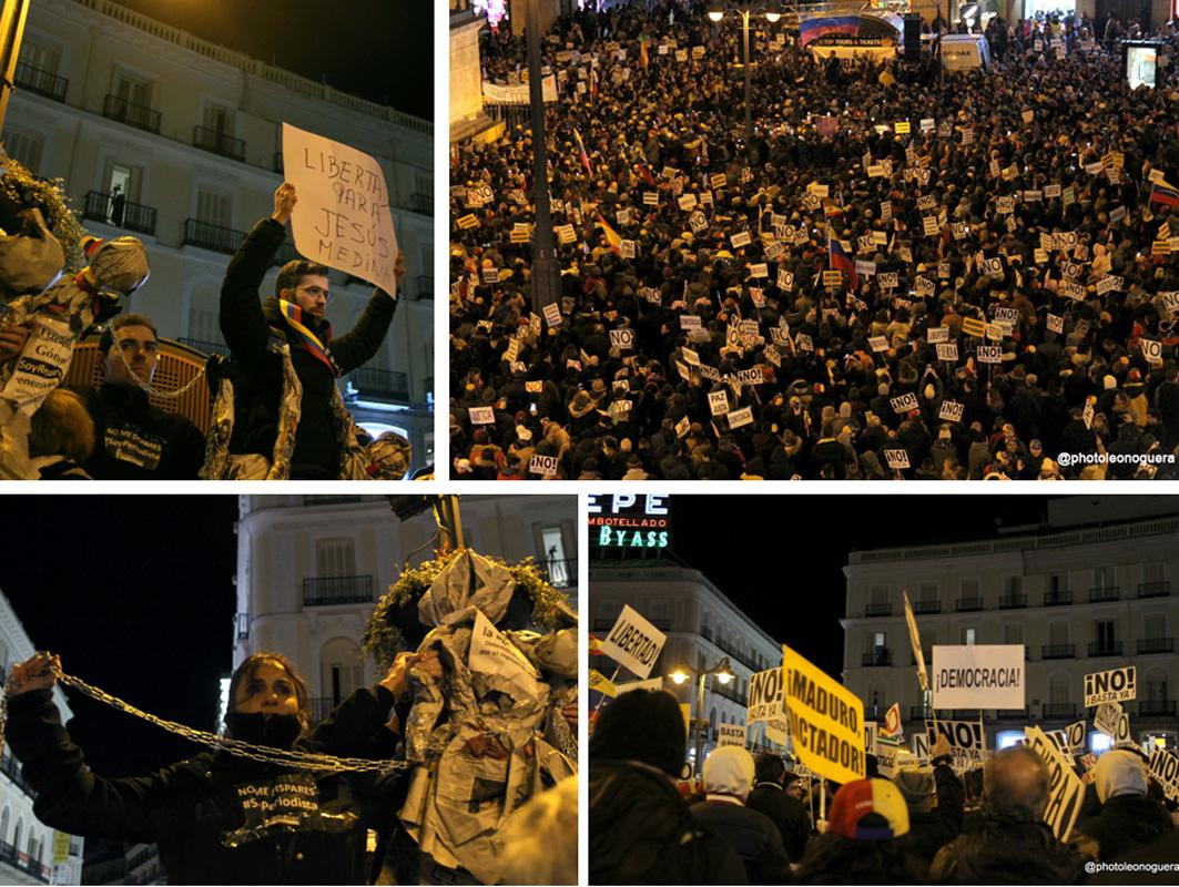 Periodistas venezolanos se manifiestan en Madrid. Foto: Leo Noguera