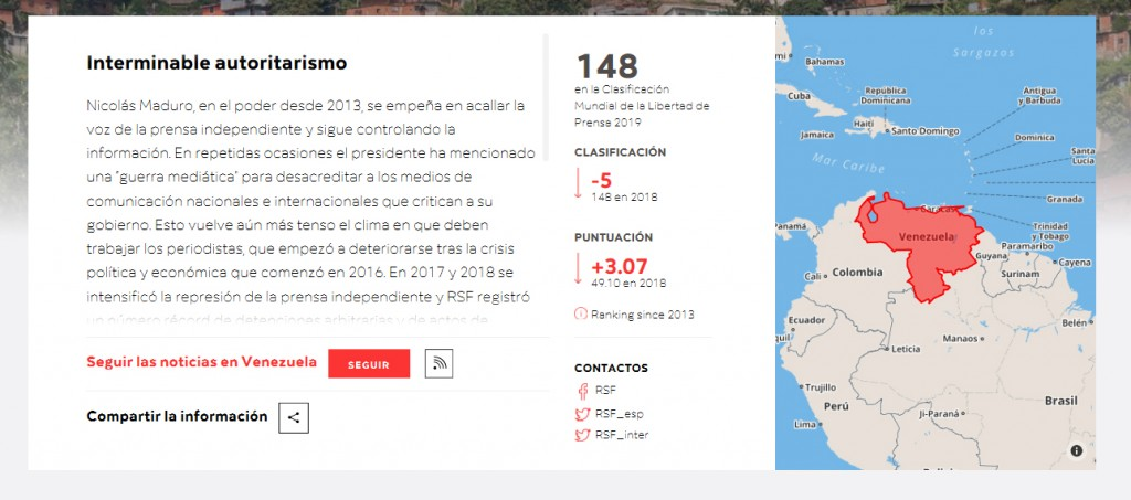 Venezuela según reporteros sin fronteras