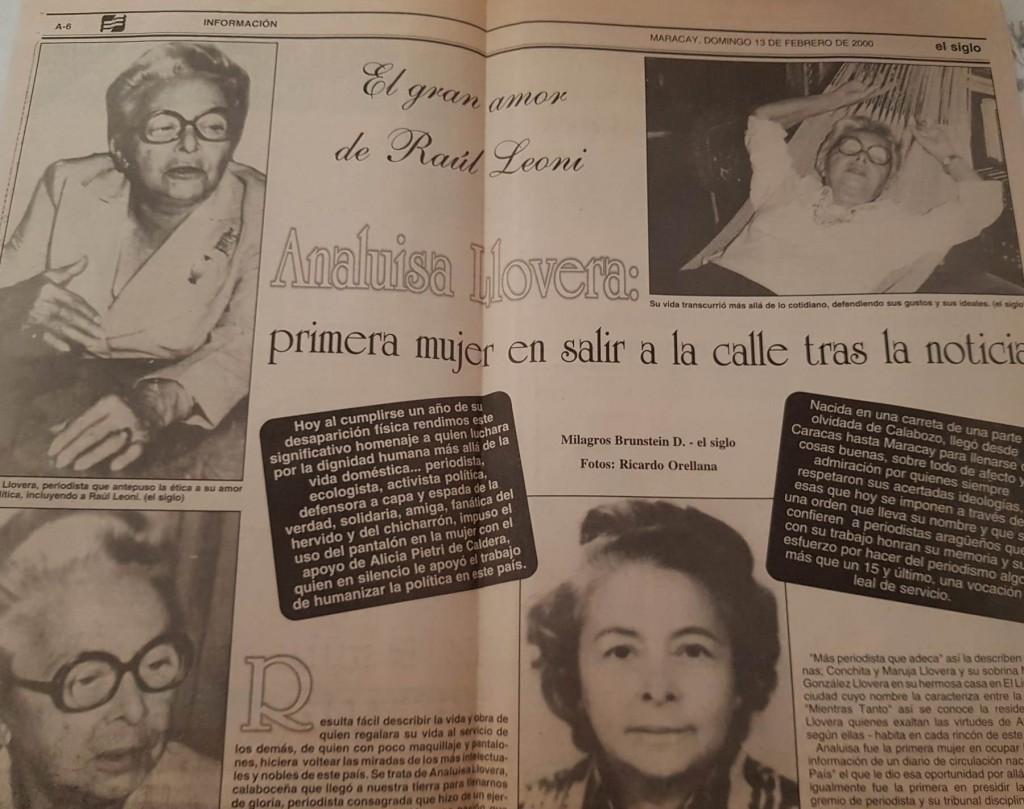 Analuisa Llovera. Foto archivo familiar
